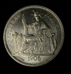 1906 A FRENCH INDO CHINA PIASTRE - AU / UNC