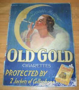 """Vintage 1940s Old Gold Cigarette  Heavy Board 31 x 41"""" Advertising Sign"""