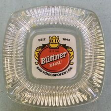 Vintage German Beer Bier Glass Ash Tray Buttner Brau Bad Konigshofen Germany 5""