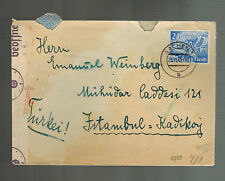 1940 Aachen Germany to Istanbul Turkey Censored Israel Cover Emanuel Weinberg