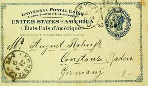 US 1883 2c UPU POSTAL CARD FROM NEW YORK TO GERMANY W/ CACHET