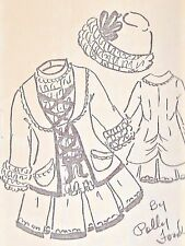 """20-21""""ANTIQUE DOLL LACED COAT/SLEEVELESS DRESS HAT PATTERN/FRENCH BRU-GERMAN"""