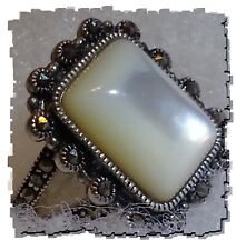 925 SILVER genuine MOTHER OF PEARL Cushion-cut stone Women's RING #7 w/ accents