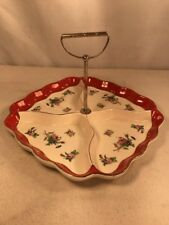 Vtg Japan Pottery Art Divided Relish Candy Nut Serving Tray Dish Handle