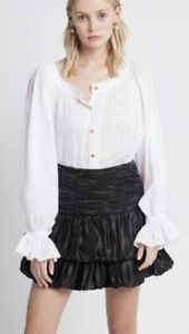 Aje Silk Linen Blend White Button Up Blouse As New One Size