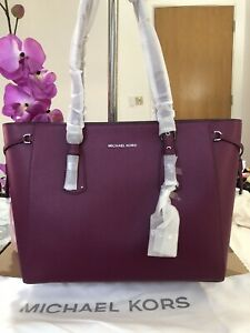 Michael Kors Voyager Medium Leather Tote Bag Genuine Garnet RP£290 Brand New