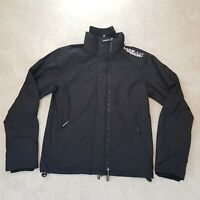 Superdry The Windcheater Jacket Adult Large Black White Spell Out Logo Zip Men *