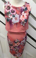Lipsy Womens Bodycon Floral Wiggle Bodycon Peplum Style Dress Size 8UK