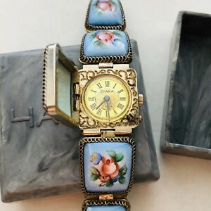 RARE CHAIKA Enamel Porcelain Lady Vintage Small Women's Beauty USSR Watch Soviet