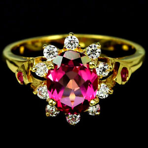 GENUINE AAA PINK TOPAZ, RED RUBY & WHITE CZ STERLING 925 SILVER RING SIZE 8