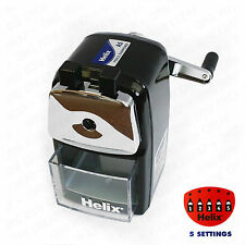 Helix Desktop Rotary Pencil Sharpener Metal Heavy Duty Body & Desk Clamp Black