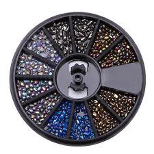 12 Grid Nail Art chameleon Glass stone Rhinestone Beads Charm Decoration Wheel