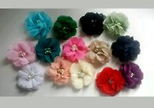 "2 Small 2"" Fabric Flower.Voile / Chiffon Felt back DIY embellishments.23 colours"