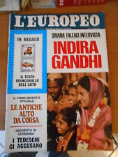 L'EUROPEO n.6-1972-1°inserto le antiche auto da corsa-INDIRA GANDI
