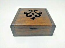 Antique Wooden Box Stencil Teak Wood Thailand Storage Jewelry Home Decor Gift