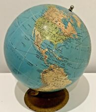 "Vintage Philips London Library Terrestrial Globe 6"" (1958) World Map With Stand"