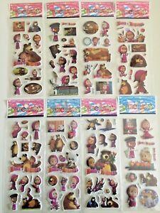 3 sheets set Masha and the Bear puffy Stickers Birthday gift bag kids craft