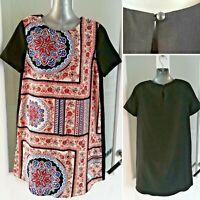 Topshop Maternity Print Dress 8 Black Short Sleeve Mini Tunic Unlined