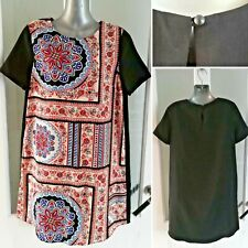 Topshop Maternity Print Dress 8 Black Summer Short Sleeve Mini Shift Unlined