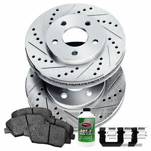 For Ford, Lincoln Edge, MKX Front  Drill Slot Brake Rotors+Ceramic Brake Pads