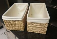 Lot of 2 Natural Wicker Display Set Storage Baskets w/ Fabric Liners