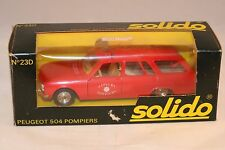 Solido 23D Peugeot 504 Pompiers 1:43 very near mint in box