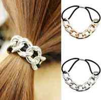 Elastic Fashion Womens Metal Hair Ties Band Ropes Ring Scrunchie Ponytail Holder