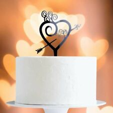 Black Heart And Arrow Cake Topper x1 Baking Pick Decoration Wedding
