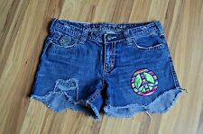Industrial Cotton Distressed Destroyed Denim Shorts Sz 9 Peace Sign Frayed Hem