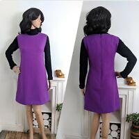 Vintage Purple Scottish Wool Shift Dress Scotland 60s 10 38