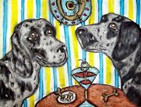 AMERICAN LEOPARD HOUND Drinking a Martini Pop Vintage Art 8 x 10 Signed Print
