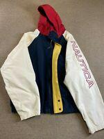 Nautica Sailing Jacket Windbreaker Coat Spellout Colorblock L Blue White hat VTG