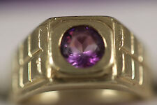 HEAVY WIDE 10.46G 14K SOLID GOLD PURPLE AMETHYST DOME WIDE BAND RING 14KT SZ 11