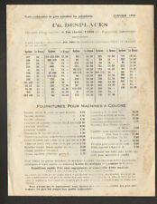 """PARIS (III°) FOURNITURES pour MACHINE à COUDRE """"Ch. DESPLACES"""" Tarifs en 1920"""