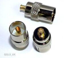 IEC DVB-T TV PAL female jack to MCX male plug RF adapter connector - UK seller
