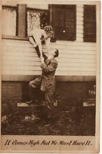 "Antique COMIC ROMANTIC POSTCARD c1910 Young Couple ""Must Have It"""