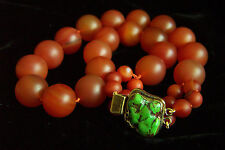 """Magnificent Vintage Large Jade Red Carnelian Agate Turquoise Necklace 20 3/4"""""""