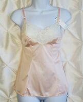 VTG 90s Pink Floral Lace Satin 100% Nylon Babydoll Nightie NWT Size 34 SM / M