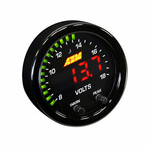 AEM 30-0303 52MM X-SERIES DIGITAL VOLTAGE / VOLTMETER / VOLTS GAUGE 8~18V BLACK