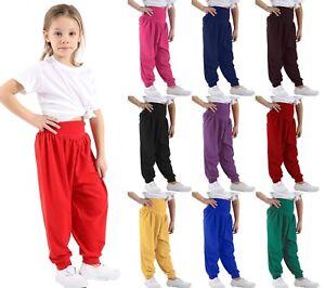 ZET Kids Childrens Girls Dance Wear Harem Ali Baba Baggy Elasticated Pants Trousers 7-13 Years