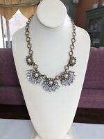 Vintage Bib Statement Necklace Rhinestone  White pearl cabochon Gold 18 Inches