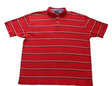TOMMY HILFIGER Vintage 90s Men's XL Striped Polo Shirt Flag Red Blue Yellow