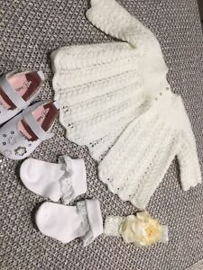 REBORN DOLL CLOTHES.  1- WHITE CARDIGAN, SHOES & SOCKS, HEADBAND. SIZE 0-3 MTHS.