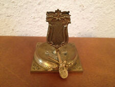Antique Brass or Bronze Match Box Holder w/ Musical Instrument Decoration