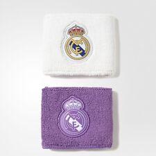 Adidas Real Madrid Muñequeras Talla Única Blanco Púrpura los Fútbol Nuevo
