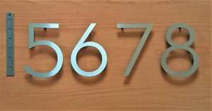 """Large 4"""" or 6"""" floating house/door numbers solid 2mm brushed stainless steel"""