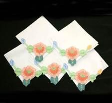 Vintage set of six pretty embroidered floral napkins measuring 28cm square