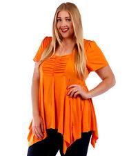 Yummy Plus Orange Asym Sharkbite Hem Empire Waist Top Size 2X