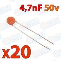 Mini condensador ceramico de 4,7nF 50v ±20/80% - Lote 20 unidades - Arduino Elec