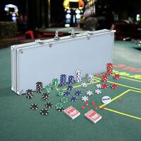 HOMCOM Poker Set 500 Piece Texas Poker Chip Set Dice Cards Casino Game